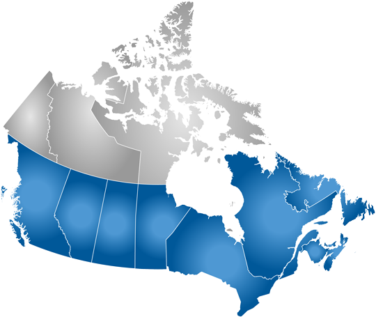 map of canada - some provinces highlighted